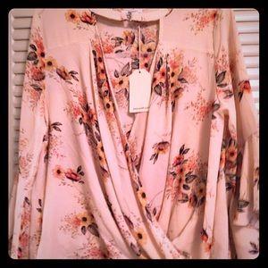 Jodifl NWT Woman's L Boho Fall Floral Surplice Top